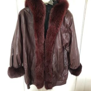 Faux leather and fur burgundy oversized jacket